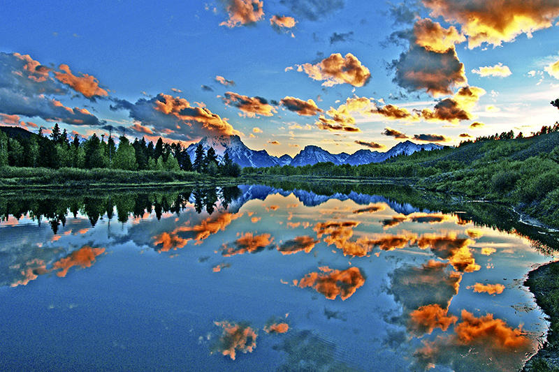 Dusk at Oxbow Bend of Grand Teton N. P.